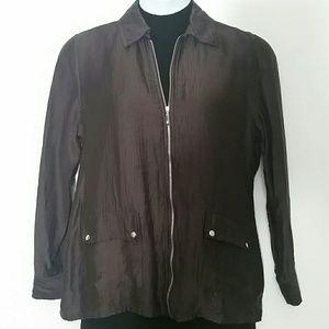 Peck & Peck L brown jacket silver